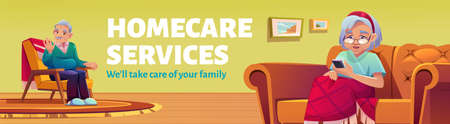 Homecare services poster. Social service for aid and care for old patients at home. Vector flyer with cartoon illustration of elder man sitting in armchair and woman with mobile phone on sofa