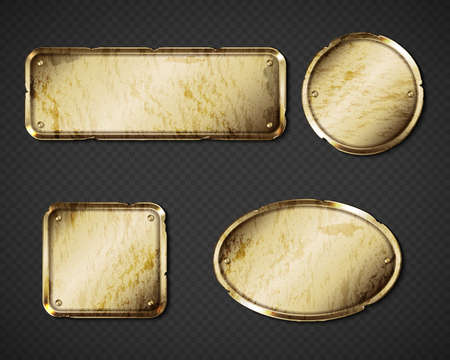 Gold or brass old plates, golden shabby name plaques with gaps empty mockup. Metal dirty identification tags, badges round, oval and rectangular frames for nameplate with grime realistic 3d vector set Vector Illustration