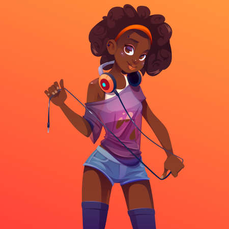 Afro dj girl in headphones on neck, modern clothes and curly hairstyle. Young sexy woman with dark skin and piercing on cute face, disc jockey teenager in jeans shorts, Cartoon vector illustration