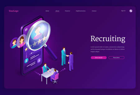 Recruiting isometric landing page. Hiring agency, human resource online service, tiny people at huge smartphone with magnifier and app for research applicant for vacant work place 3d vector web banner