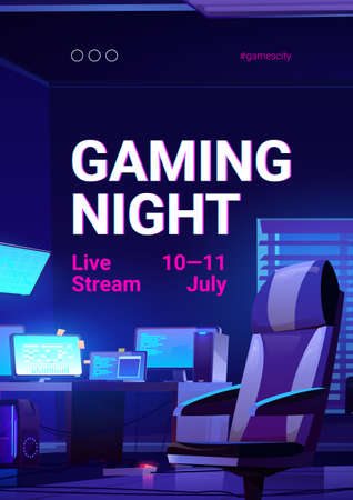 Gaming night poster, video game live stream. Vector banner of online multiplayer tournament with cartoon illustration of players room with chair, computer and monitors on desk