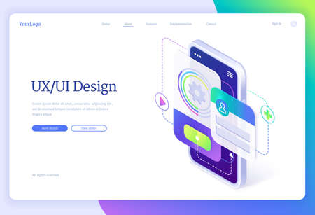 Ui and ux design, user experience, isometric landing page, mobile phone with application layouts, smartphone app interface development, gadget software design projection concept, 3d vector web banner