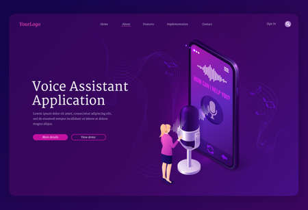 Voice assistant application isometric landing page. Speaker command recognition smart app, digital identification technologies. Tiny woman stand at huge smartphone with microphone 3d vector web banner Иллюстрация