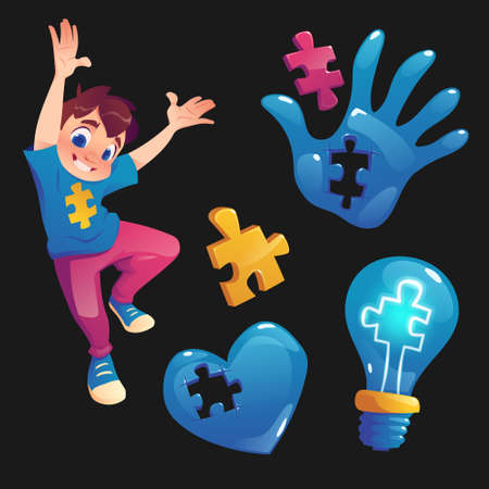 Boy and symbols with puzzle pieces. Concept of autism, mental health disease and developmental disorders. Vector cartoon set with child, hand, heart and light bulb with jigsaw signs isolated on black Иллюстрация