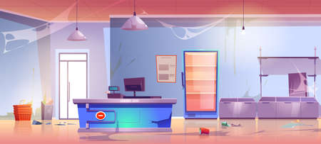 Abandoned grocery store empty shop interior with cracked cashier desk, scatter garbage, spider web, broken shelves and refrigerator. Neglected product market, retail place, Cartoon vector illustration