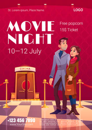 Movie night poster. Cinema festival, night event in movie theater. Vector flyer with cartoon illustration of people in cinema hall with open doors and red rope fence