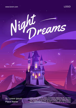 Night dreams cartoon poster with magic castle with glow windows on mountain top at nighttime. Fairytale palace under dark pink or purple sky with stars. Fantasy medieval fotress, flyer, vector banner