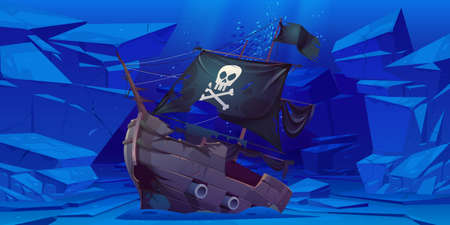 Sunken pirate ship with black sails and flag with skull and crossbones on sea bottom. Vector cartoon underwater landscape with broken wooden boat after wreck, stones and fish