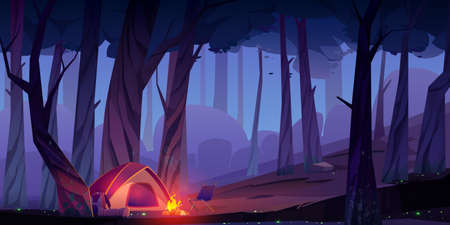 Summer camp with bonfire and tent at night. Vector cartoon landscape with campsite, fire and backpack in dark evenint wood. Illustration of travel, hiking and activity vacation Иллюстрация