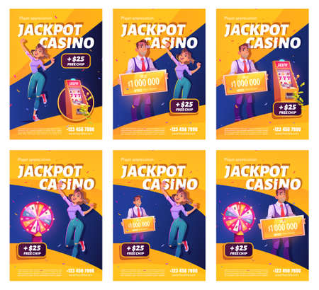 Jackpot casino win ad posters. Lucky woman celebrate winning prize jumping at money and confetti falling at lucky wheel and on one-armed bandit slot machine, happy winner. Cartoon vector illustration