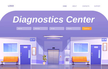 Diagnostics center cartoon landing page. Hospital corridor interior, empty medical clinic hallway in with chairs, doors to wards, water cooler and elevator, health care service, Vector web banner Иллюстрация