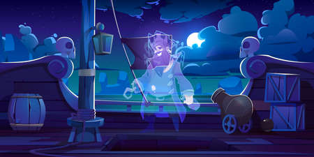 Ghost of pirate on ship deck with black jolly roger flag at night. Vector cartoon illustration with spirit of dead captain with hook, wooden leg and beard in sailor costume on boat in moonlight