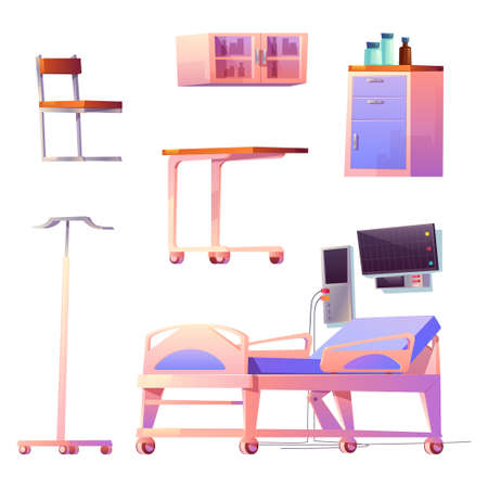 Clinic ward or chamber interior stuff isolated hospital items bed, life support system, computer, chair and locker for medicine, wheeled table and holder for medical dropper, cartoon vector icons set Иллюстрация