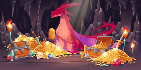 Cave with red dragon and treasure, piles of gold coins, jewelry and gem. Vector cartoon illustration of fairytale treasury with wooden chests, gemstones and magic beast with wings Иллюстрация