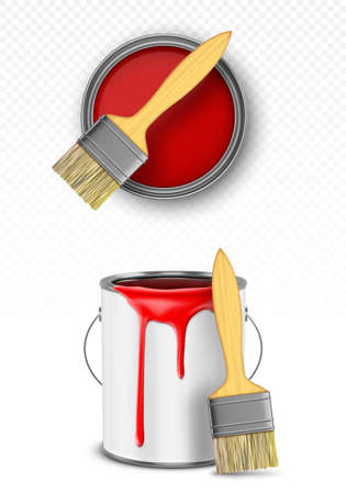 Paint can with brush, tin bucket with red dripping drops top and front view, metal pot, container with dye for renovation works isolated on transparent background, Realistic 3d vector illustration