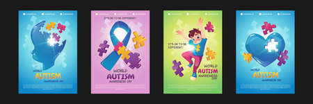 World autism awareness day posters. Vector set of flyers with cartoon illustrations of happy boy, child head, ribbon and heart with puzzle pieces. Support people with mental spectrum disorders