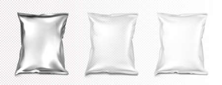 Foil and plastic bags mockup, blank white, transparent and silver metallic colored pillow packages for food production, snack, chips or cookies, isolated design element Realistic 3d vector mock up set Иллюстрация