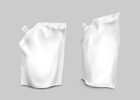 Foil bag with lid on corner, doypack for liquid food isolated on gray background. Vector realistic mockup of blank white pouch, flexible doy pack for milk product, juice or sauce