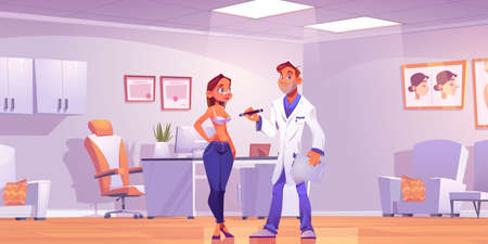 Plastic surgeon consulting woman about breast lift or augmentation operation in clinic room. Vector cartoon illustration of doctor office, man medic and female patient. Mammoplasty beauty surgery Иллюстрация