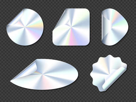 Holographic stickers, hologram labels with curl edges. Round, square, oval, rhombus and wavy iridescent foil or silver colored blank rainbow shiny emblems or patches, Realistic 3d vector icons set