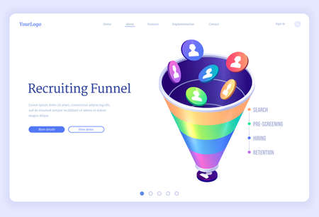 Recruiting funnel banner. Concept of organization hiring process, search and selection staff and employees to business. Vector landing page of recruitment system by few steps