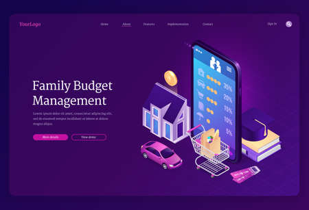 Family budget management isometric landing page. Mobile phone application for financial planning, money income and expenses analytic. Mobile, trolley, car, house and education 3d vector web banner