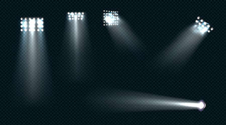 Spotlights, stage light white beams, glowing design elements for studio, stadium or theater scene. Lamps rays for concert, show presentation isolated on transparent background, Realistic 3d vector set