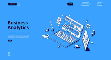 Business analytics isometric landing page. Financial marketing, online trading and investment, automation. Laptop with digital analysis data charts, statistics diagrams, 3d vector line art web banner Иллюстрация