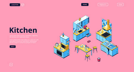 Kitchen banner. Modern furniture and cooking appliances for house kitchen. Vector landing page with isometric illustration of cupboards, shelves, stove, microwave oven, sink and refrigerator