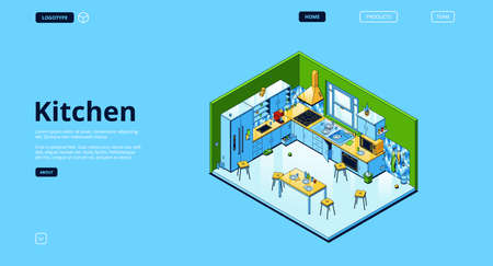 Home kitchen isometric landing page, empty interior with appliances for cooking and furniture, served table, oven, range hood, refrigerator and utensil. Cozy dining room. 3d vector line art web banner Иллюстрация