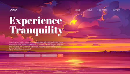 Travel banner of tranquility rest with cartoon landscape of sea sunset. Vector landing page of calm vacation on sea or lake shore with illustration of coastline and sky with clouds and evening sun Иллюстрация