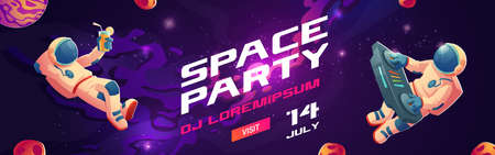 Space party cartoon flyers, invitation to music show with astronaut dj with turntable in open space, spaceman mixing techno sounds, cosmos, galaxy posters free drinks and parking Vector illustration Иллюстрация