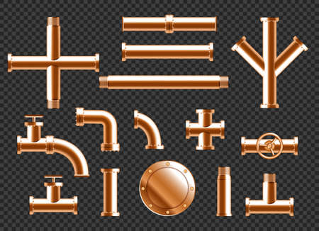 Copper water pipes, plumbing pipeline elements with taps, valve and connectors isolated on transparent background. Vector realistic set of 3d brass tubes for plumbing or drain system