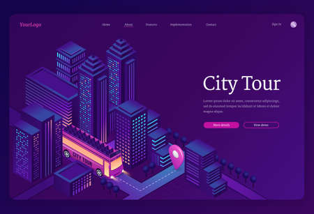 City tour banner. Travel and sightseeing by double decker bus in town. Vector landing page of group tourism and trip with isometric illustration of excursion bus on city street
