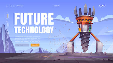 Future technology cartoon landing page with futuristic drilling rig, drill ship for exploration and mining. Landscape with platform and derrick with auger, spaceship for bore ground, Vector web banner Vektorové ilustrace