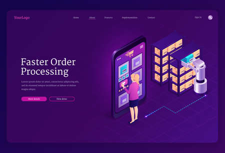 Faster order processing concept. Robotic automated process in warehouse, smart retrieval system for storage. Vector landing page of RPA with isometric woman manage logistic with smartphone