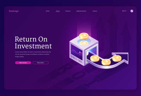 Return on investment banner. Concept of revenue growth from funds, increase financial capital. Vector landing page of ROI value report with isometric illustration of coins, arrows and graph