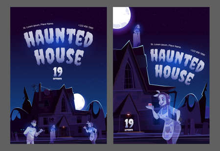 Haunted house posters with old house with ghosts at night. Vector flyers of Halloween party or scary show with spirits. Cartoon illustration of spooky haunted mansion and souls of dead people