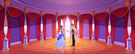 Prince and princess in royal castle ballroom