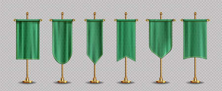 Green pennant flags mockup, blank vertical banners