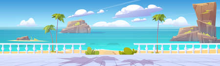 Summer tropical landscape with sea and seafront