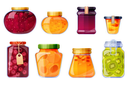 Glass jars with jam from strawberry, peach, cherry, sea buckthorn, kiwi and apricot. Vector cartoon set of sweet fruit conserves, jelly and marmalade isolated on white background Vector Illustration