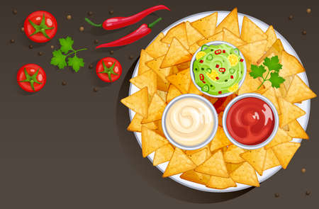 Dish with nacho chips and sauces in bowls, mexican food with dressings. Vector cartoon background with corn tortilla triangle chips on plate with salsa, ketchup, mayonnaise and guacamole