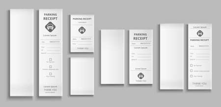 Parking receipts 3d vector templates, paper pay check for car park service, payment transaction blank and filled cards with date and time isolated mockup on grey background realistic illustration, set