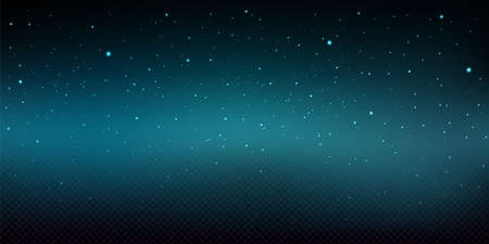 Night sky background with shiny stars. Christmas wallpaper with falling snow texture. Vector realistic illustration of starry space, dark blue sky with snowfall on transparent background
