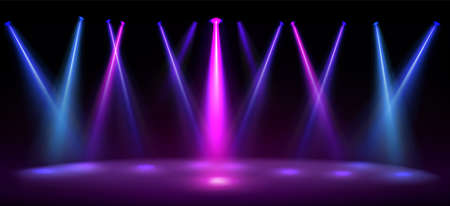 Stage illuminated by blue and pink spotlights. Empty scene with spots of light on floor. Vector realistic illustration of studio, theater or club interior with color beams of lamps