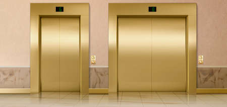 Gold lift doors, service and cargo closed elevators. Building hall interior with gold gates, buttons, stage number panels, indoor transportation in office or hotel, realistic 3d vector Illustration