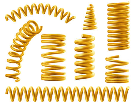 Gold spring coils, flexible spiral metal wire. Vector realistic set of golden elastic springy coils different shapes for suspension or machine absorber isolated on white background