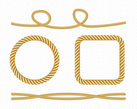 Gold silk cords, round and square frames of satin rope, golden threads, decorative sewing items isolated on transparent background. Tie borders, curve and twisted bows, Realistic 3d vector set
