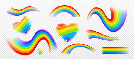 Rainbow effect, colorful wavy stripes, spots and hearts with grunge edges isolated on transparent background. Lgbt symbol, graphic design elements of different shapes, Cartoon vector icons set 일러스트